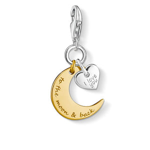 THOMAS SABO Charm Pendant I Love You To The Moon - Gold & Sterling Silver