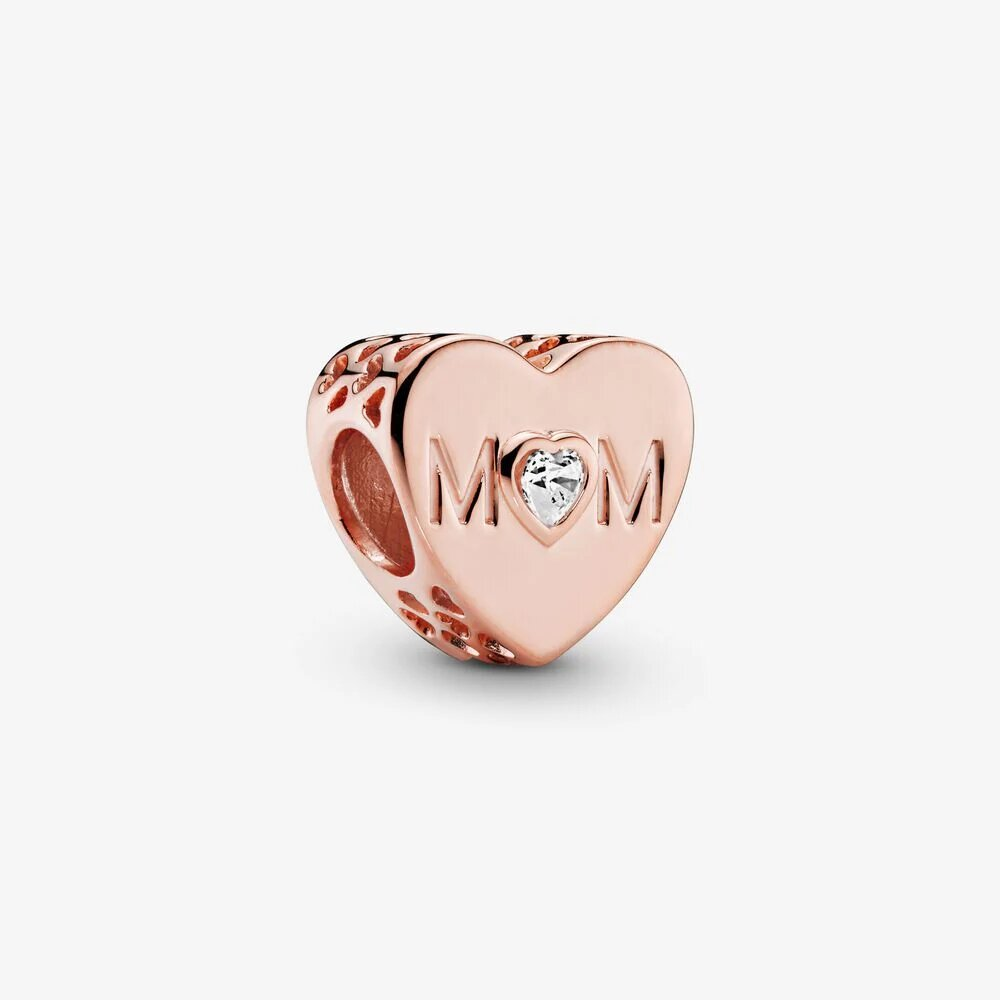 PANDORA Clear Mom Heart Charm - Rose Gold