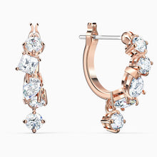 Load image into Gallery viewer, SWAROVSKI Attract Pierced Earrings - White & Rose Gold Tone Plated