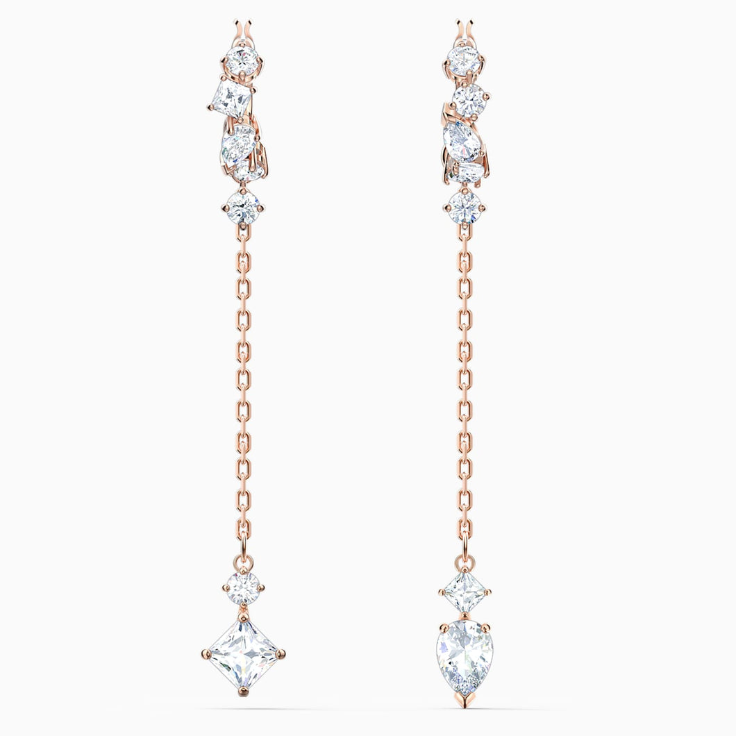 SWAROVSKI Attract Pierced Earrings - White & Rose Gold Tone Plated