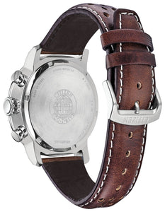 CITIZEN Brycen 44mm Men's Aluminum Plated Bezel Leather Watch - Brown - Gemorie