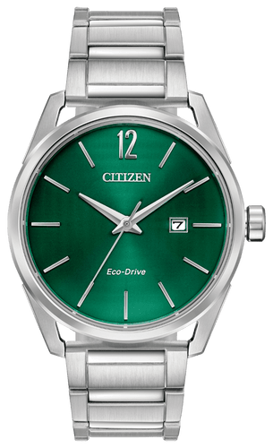 CITIZEN CTO Eco-Drive Green Dial Stainless Steel Watch - Gemorie