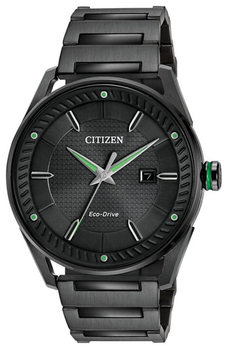 CITIZEN CITIZEN Drive Men's Solar Powered Black Dial Watch - Black Stainless Steel - Gemorie
