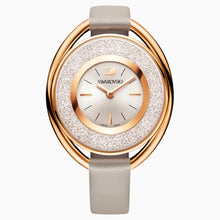 Load image into Gallery viewer, SWAROVSKI Crystalline Oval Leather Strap Watch - Gray & Rose Gold Tone PVD