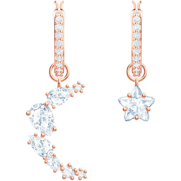 SWAROVSKI PENÉLOPE CRUZ MOONSUN DROP EARRINGS, WHITE, ROSE GOLD PLATING - Gemorie