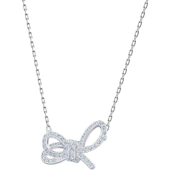 Swarovski LIFELONG BOW NECKLACE, WHITE, RHODIUM PLATING