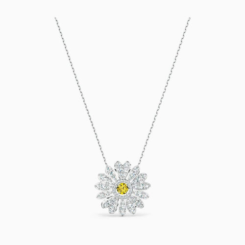 Swarovski ETERNAL FLOWER PENDANT, YELLOW, RHODIUM PLATED - Gemorie