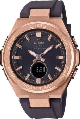G-SHOCK G-SHOCK G-MS Dual Dial World Time Solar Powered Women's Watch - Black & Rose Gold - Gemorie