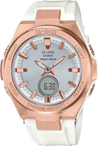 G-SHOCK G-SHOCK G-MS Rechargeable Digital Analog Women's Watch - White & Rose Gold - Gemorie