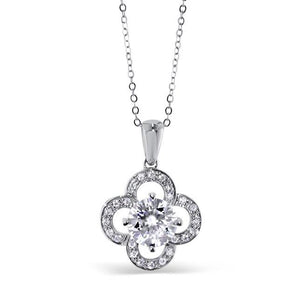 "GEMODA GEMODA ""Flora"" 1ctw Moissanite Clover Pendant Necklace in 18k White Gold - Gemorie"