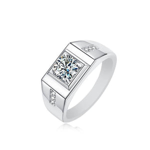 "GEMODA GEMODA ""Manhattan"" Men's Moissanite Wedding Ring 925 Sterling Silver - Gemorie"