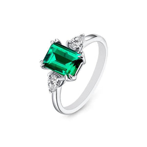 "GEMODA GEMODA ""Parisian"" 1 Carat Green Emerald Moissanite Ring in 925 Sterling Silver - Gemorie"