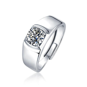 "GEMODA GEMODA ""Uptown"" Men's Moissanite Solitaire 18k White Gold Wedding Band Ring - Gemorie"