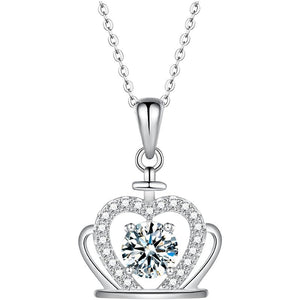 "GEMODA GEMODA Women's Moissanite 1 Carat Brilliant Round ""Corrine"" Crown Necklace - Gemorie"