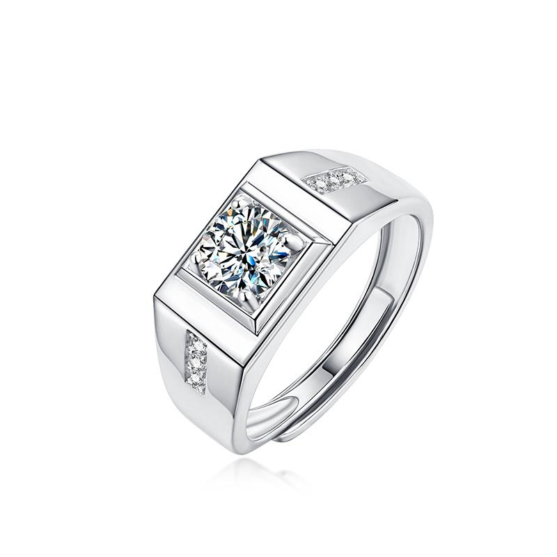 GEMODA Men's Moissanite Solitaire 18k Wedding Band - Gemorie