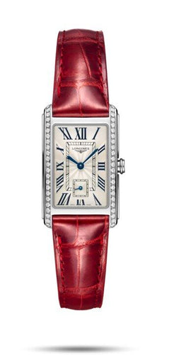 LONGINES LONGINES DolceVita Women's Alligator Strap Watch - Red - Gemorie