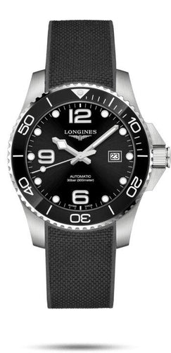 LONGINES LONGINES HydroConquest Rubber Strap 43mm Watch - Black - Gemorie