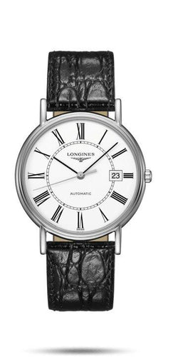 LONGINES LONGINES Presénce Men's 38.5mm Leather Watch - Black - Gemorie