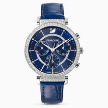 Load image into Gallery viewer, SWAROVSKI Passage Chrono Leather Strap Watch - Blue & Stainless Steel