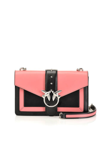 PINKO PINKO LOVE BAG EVOLUTION IN TWO-TONE LEATHER- Coral/Black - Gemorie