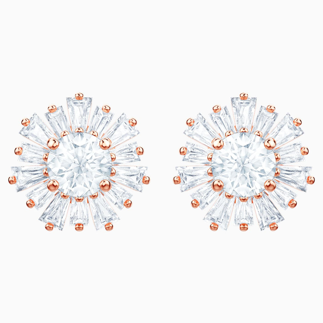 SWAROVSKI Sunshine Pierced Earrings - White & Rose Gold Tone Plated