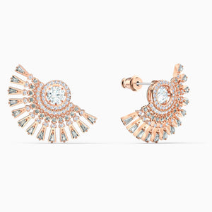 SWAROVSKI Sparkling Dance Dial Up Pierced Earrings - Gray & Rose Gold Tone Plated