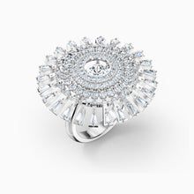 Load image into Gallery viewer, SWAROVSKI Sparkling Dance Dial Up Ring - White & Rhodium Plated