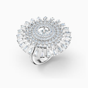 SWAROVSKI Sparkling Dance Dial Up Ring - White & Rhodium Plated