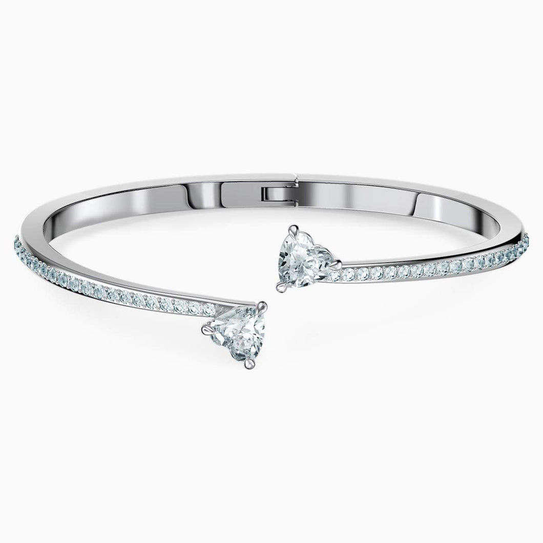 Swarovski SWAROVSKI Attract Soul Heart Bangle - White & Rhodium Plated - Gemorie