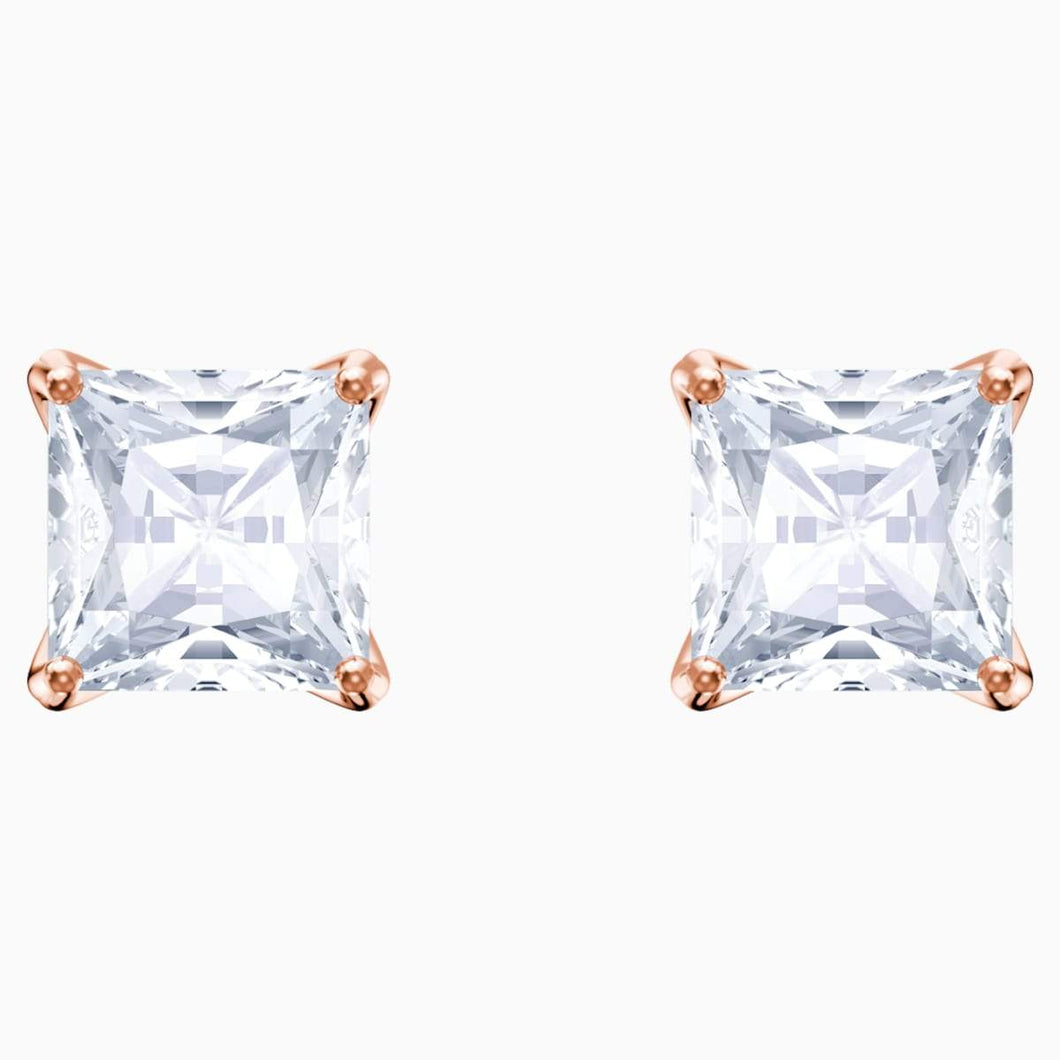 Swarovski SWAROVSKI Attract Stud Pierced Earrings - White & Rose-Gold Tone Plated - Gemorie