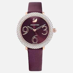 Swarovski SWAROVSKI CRYSTAL FROST WATCH, LEATHER STRAP, DARK RED, ROSE-GOLD TONE PVD - Gemorie
