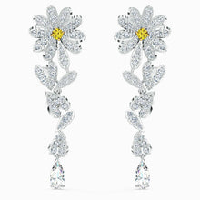 Load image into Gallery viewer, Swarovski SWAROVSKI Eternal Flower Pierced Earrings - Yellow & Mixed Metal Finish - Gemorie