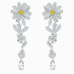 Swarovski SWAROVSKI Eternal Flower Pierced Earrings - Yellow & Mixed Metal Finish - Gemorie