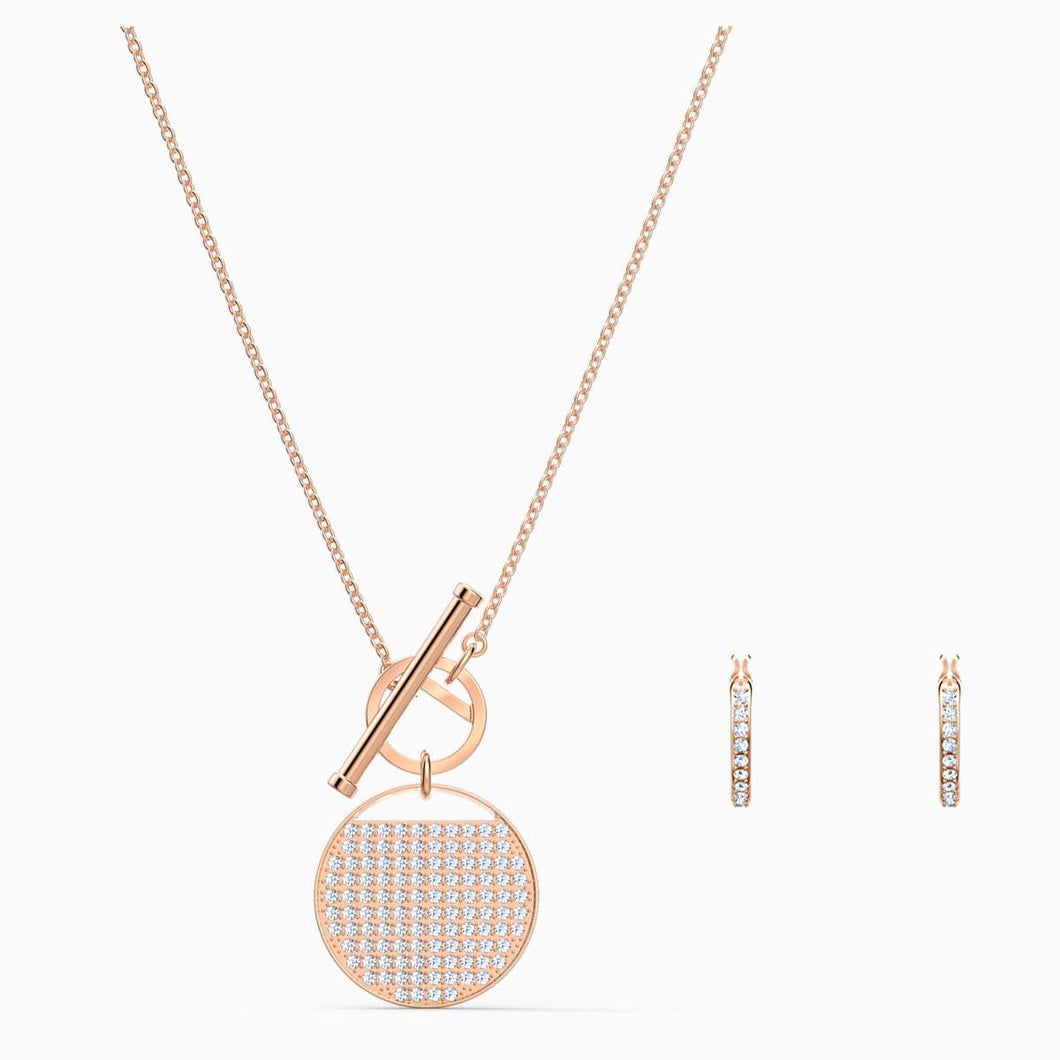 Swarovski SWAROVSKI Ginger T Bar Set - White & Rose Gold Plated - Gemorie