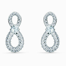 Load image into Gallery viewer, Swarovski SWAROVSKI Infinity Mini Pierced Earrings - White & Rhodium Plated - Gemorie