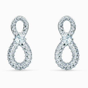 Swarovski SWAROVSKI Infinity Mini Pierced Earrings - White & Rhodium Plated - Gemorie