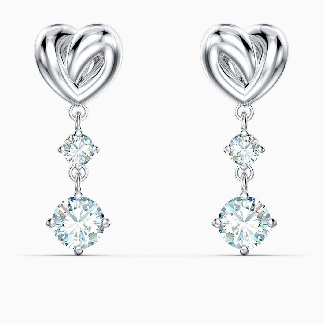 Swarovski SWAROVSKI Lifelong Heart Pierced Earrings - White & Rhodium Plated - Gemorie