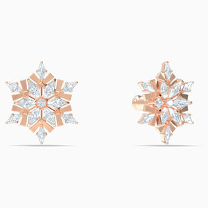 Swarovski SWAROVSKI MAGIC PIERCED EARRINGS, WHITE, ROSE-GOLD TONE PLATED - Gemorie