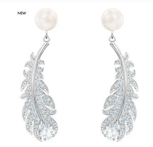 Swarovski SWAROVSKI NICE PIERCED EARRINGS, WHITE, RHODIUM PLATED - Gemorie