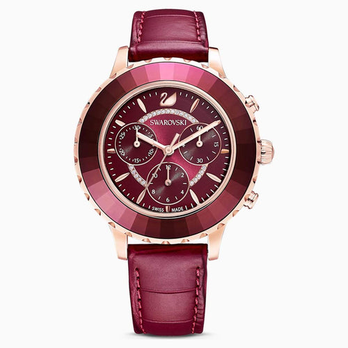 Swarovski SWAROVSKI Octea Lux Chrono Leather Strap Watch - Red and Rose Gold Tone Plated - Gemorie