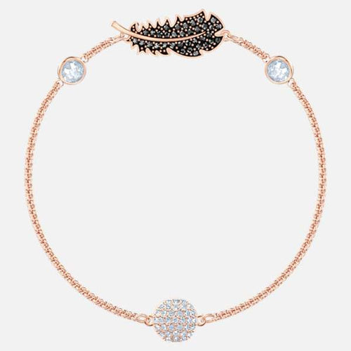 Swarovski SWAROVSKI REMIX COLLECTION FEATHER STRAND, BLACK, ROSE-GOLD TONE PLATED - Gemorie
