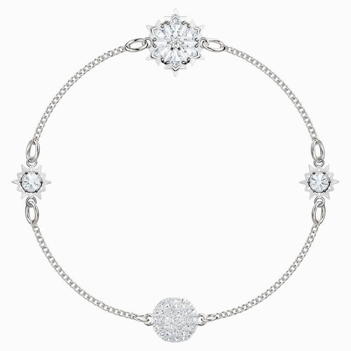 Swarovski SWAROVSKI Remix Collection Snowflake Strand Bracelet - White & Rhodium Plated - Gemorie