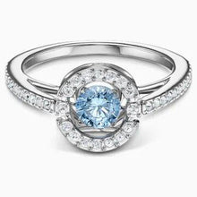 Load image into Gallery viewer, Swarovski SWAROVSKI Sparkling Dance Round Ring - Aqua & Rhodium Plated - Gemorie