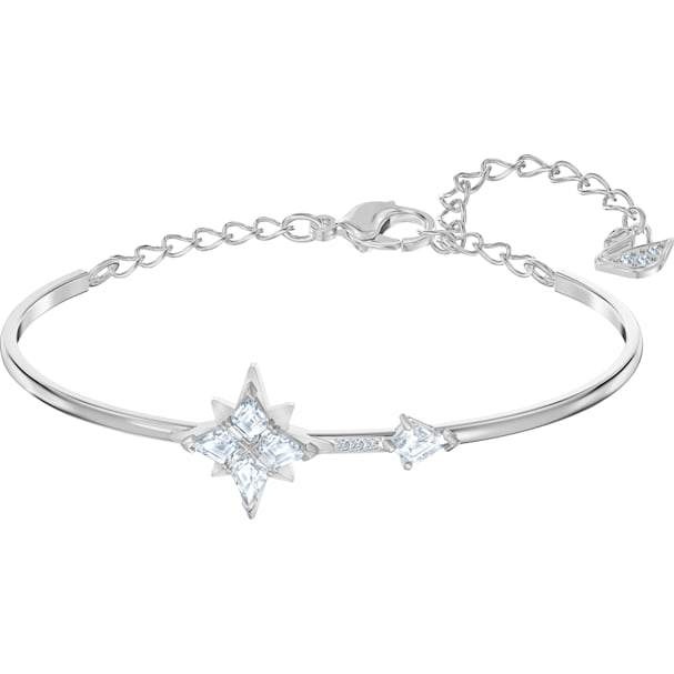 Swarovski SWAROVSKI SYMBOLIC BANGLE, WHITE, RHODIUM PLATED - Gemorie