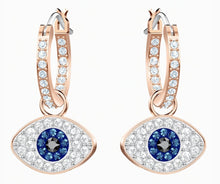 Load image into Gallery viewer, Swarovski SWAROVSKI SYMBOLIC EVIL EYE HOOP PIERCED EARRINGS, BLUE, ROSE-GOLD TONE PLATED - Gemorie
