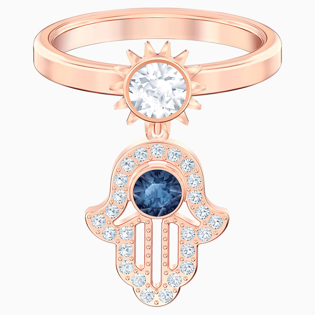 SWAROVSKI Symbolic Motif Ring - Blue & Rose Gold Tone Plated