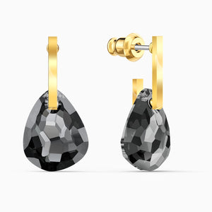 SWAROVSKI T Bar Pierced Earrings - Gray & Gold Tone Plated