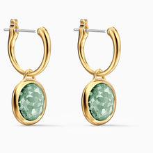 Load image into Gallery viewer, SWAROVSKI Tahlia Mini Hoop Pierced Earrings - Green & Gold Tone Plated