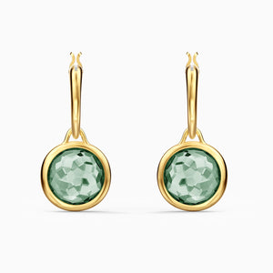 SWAROVSKI Tahlia Mini Hoop Pierced Earrings - Green & Gold Tone Plated