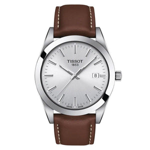 Tissot TISSOT Gentleman Round HMS Dial Men's Leather Watch - Brown - Gemorie